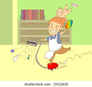 vector illustration for a father doing cleaning work in home