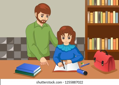 A vector illustration of Father Helping His Daughter Doing Homework