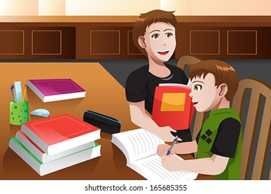 A vector illustration of father helping his son doing his homework