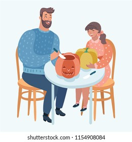 A vector illustration of a father and his daughter carving pumpkins for Halloween. Modern caracters on white background.