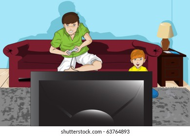 A vector illustration of a father and his son playing video games