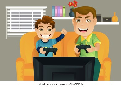 A vector illustration of a father and his son playing video games in the living room