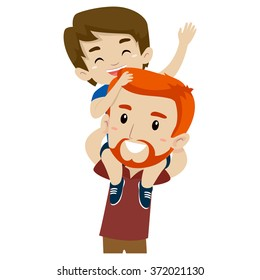 Vector Illustration of Father and Son doing Piggy Back Ride