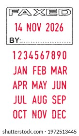 Vector illustration of the Faxed stamp and editable dates (day, month and year) in ink stamps