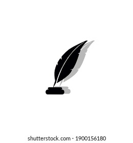 Vector illustration of feather pen and ink