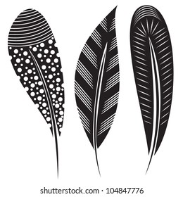 Vector illustration of feathers with tribal ornaments - in black and white