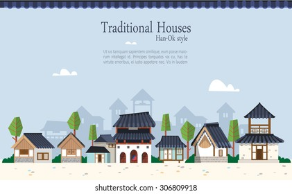 Vector illustration featuring the old town surrounded by ramparts with Korean houses  with tiled roofs. Suitable for traditional holiday.Asian traditional architecture style  and maple trees.