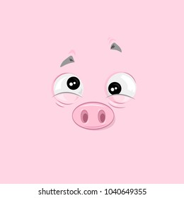 Vector illustration of the feeling of nausea pig face on pink background.
