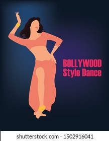 Vector illustration of a female actor dancing. Indian movie style dancing. Bollywood dancing style.