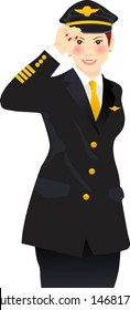 vector illustration for a female airline pilot giving a salute