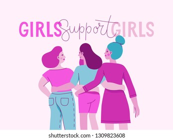Vector illustration with female character and hand lettering phrase girls support girls - feminist movement  - concept for prints, cards - international women's day