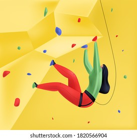 Vector illustration of female climber climbing wall with safety net. Mix of 3D and flat styles. Concept healthy lifestyle, active recreation, sports. It can be used in web design, banners, etc.