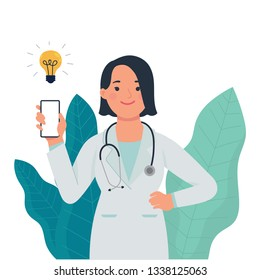 vector illustration a female doctor holding mobile phone , and doctor show to connect faster to patient with mobile phone, flat design vector doctor adapt to technology