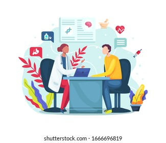 Vector illustration Female doctor talking to patient at hospital office. Conversation with medic about checkup results. Consultation in clinic office. Vector illustration in a flat style