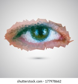 Vector illustration of female eye consisted of triangles
