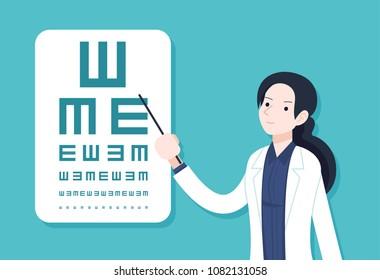 Vector Illustration, female eye doctor testing eyes