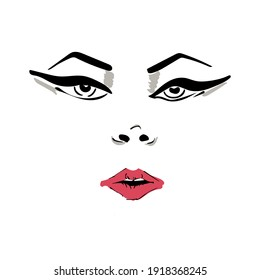 Vector illustration of a female face with makeup with arrows and red lips. Hand drawn icon and symbol for print, poster, sticker, card design, invitations to the fashion week, picture for make-up