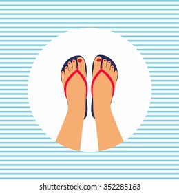 Vector illustration female feet with a pedicure in the summer flip-flops. summer - concept background