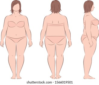 Vector illustration of female figure. Front, back, side. Body type with increased fat deposition.
