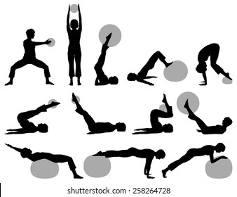 Vector illustration of female fitness silhouettes with small and big ball.