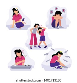 Vector Illustration of female girl junior high school teenager stressed sad depression hurt bullying in college by her friends, parents, teacher, Hate speech, harassment, body shaming, gossip, pinch