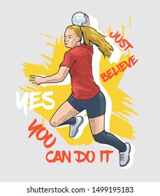 Vector illustration of female handball player jumping and ready to throw the ball. Sport motivational poster