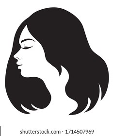 vector illustration of a female head in profile framed by black hair