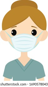 Vector illustration of a female medical professional wearing a face mask