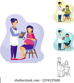 Vector Illustration of female OB/GYN Obstetrics and Gynecology doctor or nurse give checklist and consulting with a pregnant women with her baby kicking on the stomach.  It's on clinic or hospital