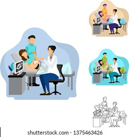 Vector Illustration of female obstetrician doctor doing ultrasonography on women pregnant patient who is expecting baby with her husband. Suitable for background landing page banner slider infographic