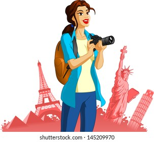 Vector Illustration of a Female Photographer.