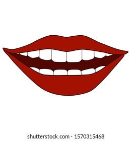 Vector illustration of female smilling mouth in cartoon style isolated on white background