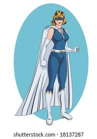 vector illustration of a female, super heroin