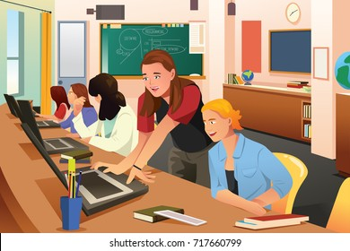 A vector illustration of Female Teacher in Computer Class with Students