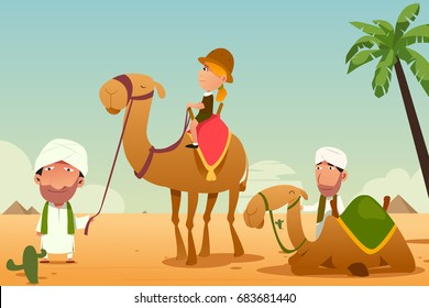 A vector illustration of Female Tourist Riding a Camel in the Desert