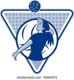 vector Illustration of a female volleyball player serving ball viewed from side set inside triangle shield.