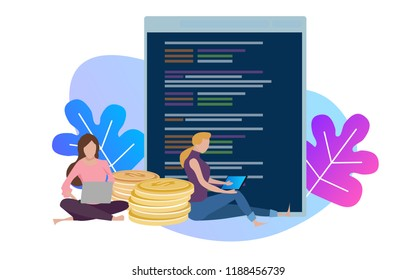 A vector illustration of female woman programmer coding on a Computer. Get money from code developer application. screen line of source-code.