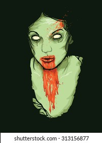 Vector Illustration of Female Zombie Girl with blood dripping from her mouth