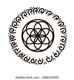 Vector illustration of feminine symbol flower of life and sacred geometry. spiral