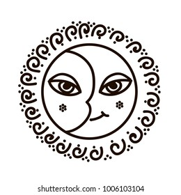 Vector illustration of feminine symbol and sacred geometry. Moon and Sun with faces spiral