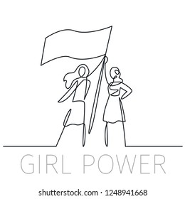 Vector illustration feminism concept in linear icon style - we can do it - girl showing flag - symbol of female power and woman rights. Continuous one line drawing girl power. Two young women symbol