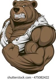 Vector illustration, a ferocious bear athlete posing, showing large biceps