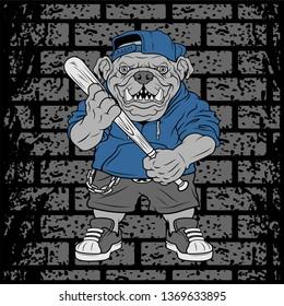 Vector illustration ferocious Bulldog baseball player hits a ball - Vector