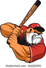 Vector illustration ferocious Bulldog baseball player hits a ball