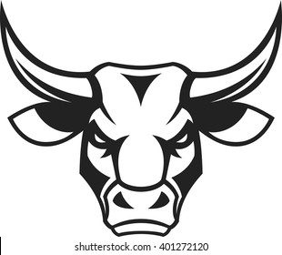 bull head images stock photos vectors shutterstock Steer Horn Cap vector illustration a ferocious bull s head on a white background