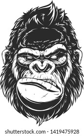 Vector illustration, ferocious gorilla head, on a black background.