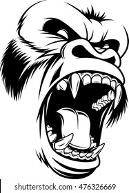 Vector illustration, ferocious gorilla head on a white background