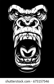 Vector illustration, ferocious gorilla head, on black background, stencil