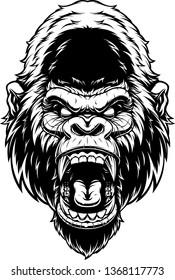 Vector illustration, ferocious gorilla's head screaming, black contour on white background.