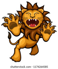 Vector illustration of a ferocious leaping cartoon lion.